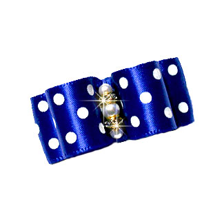 5-8 Royal Blue Satin Polka Dot Dog Bow